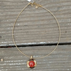 5/$25 LiaSophia Gold Red Pendant Neckwire Necklace